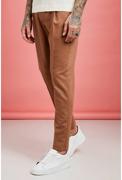 Mens Tobacco Pleat Front Plain Smart Trouser