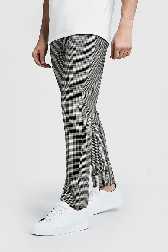 Brown Pleat Front Gingham Check Trouser