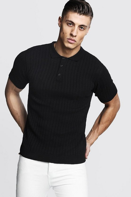 Black Muscle Fit Ribbed Knitted Polo