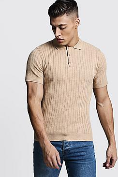 1930s Mens Shirts | Dress Shirts, Polo Shirts, Work Shirts Muscle Fit Ribbed Knitted Polo $30.00 AT vintagedancer.com