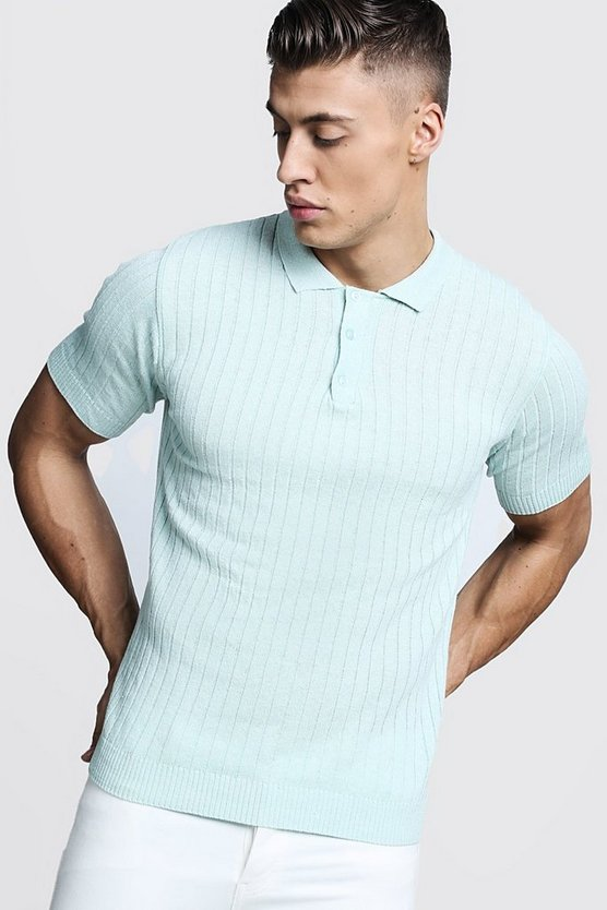 Mens Dusty green Muscle Fit Ribbed Knitted Polo