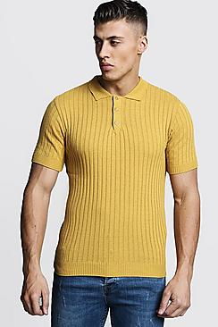 1930s Mens Shirts | Dress Shirts, Polo Shirts, Work Shirts Muscle Fit Ribbed Knitted Polo $24.00 AT vintagedancer.com