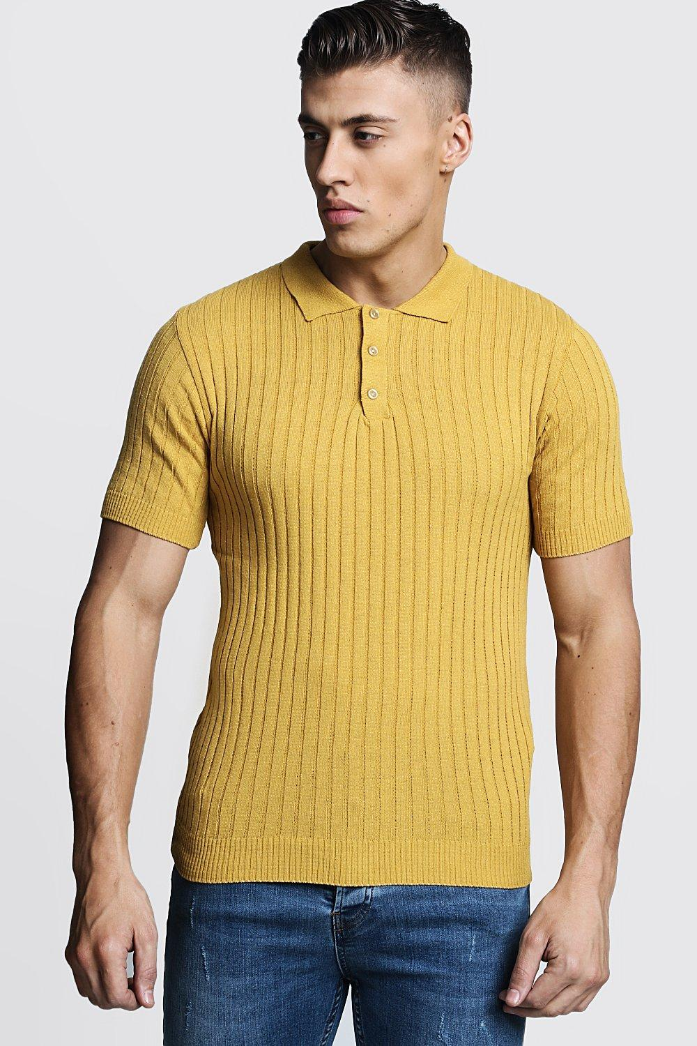 f74d375f Mens Mustard Muscle Fit Ribbed Knitted Polo. Hover to zoom
