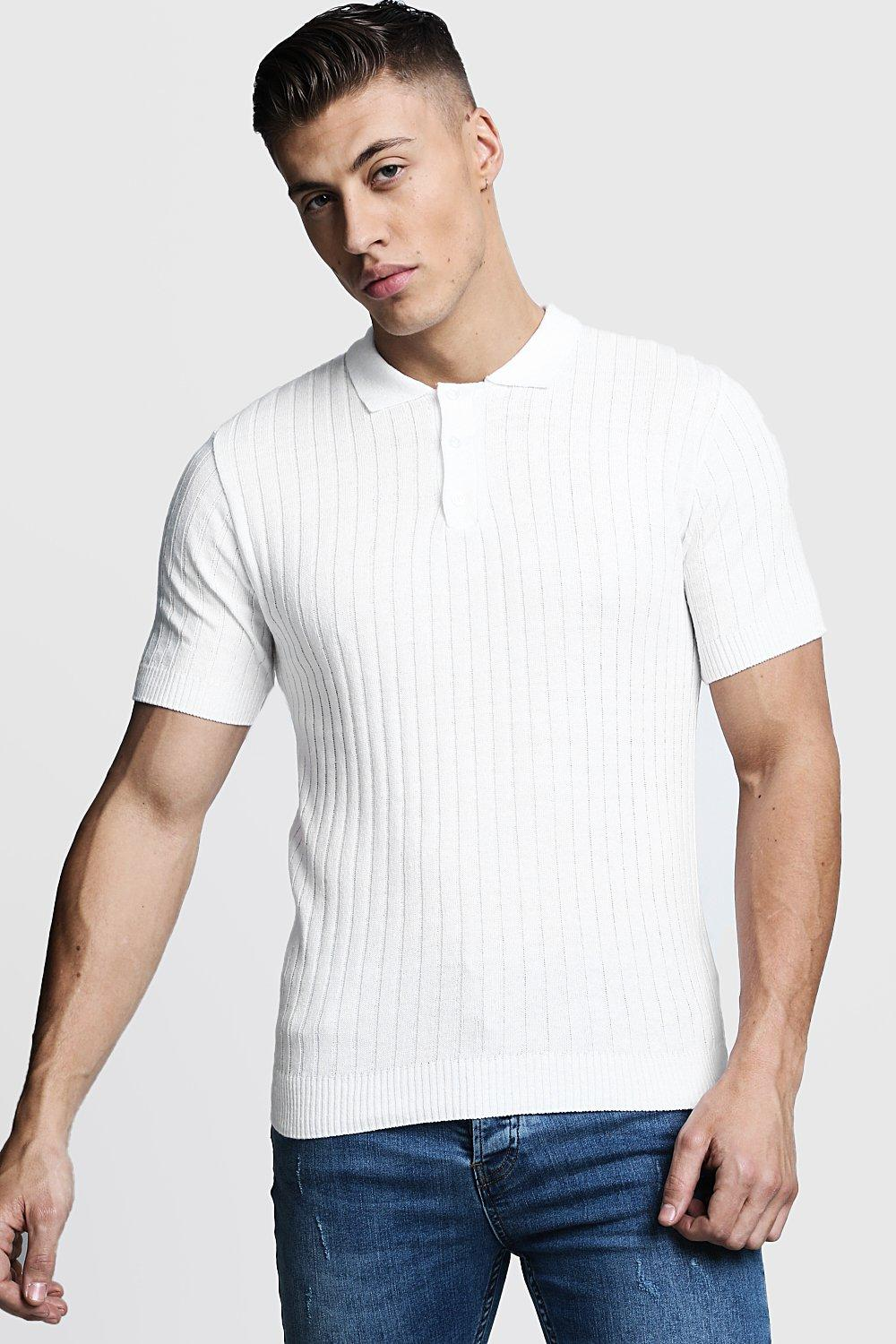 1940s UK and Europe Men's Clothing – WW2, Swing Dance, Goodwin Mens Muscle Fit Ribbed Knitted Polo - White $13.00 AT vintagedancer.com