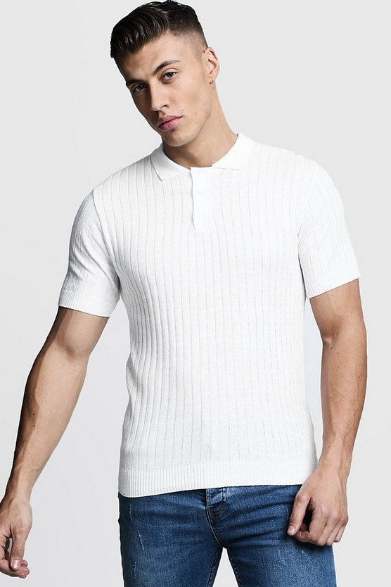 Mens Ivory Muscle Fit Ribbed Knitted Polo