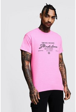 Mens Neon-pink Regular Stand Alone Printed Jersey Tee