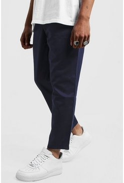 Mens Navy Drawstring Waist Slim Fit Chino Trouser
