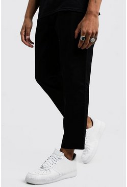 Mens Black Drawcord Waist Chino Pants