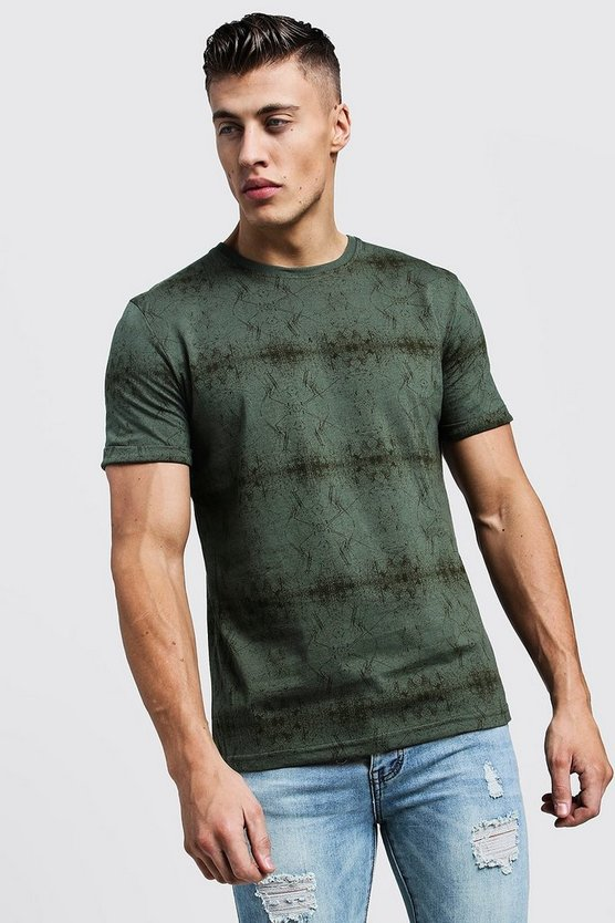 Mens Grey All Over Abstract Printed Regular Jersey Tee