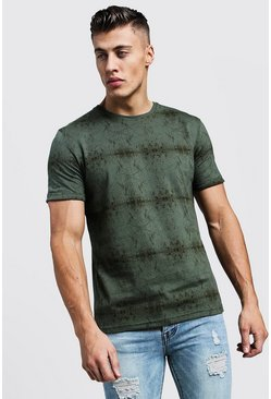 Mens Khaki All Over Abstract Printed Regular Jersey Tee