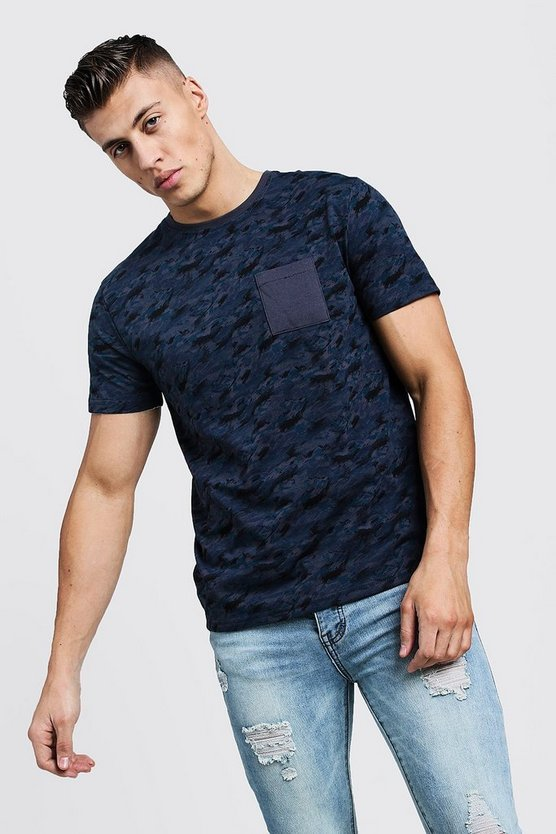Blue All Over Camo Print Regular Pocket Detail Tee