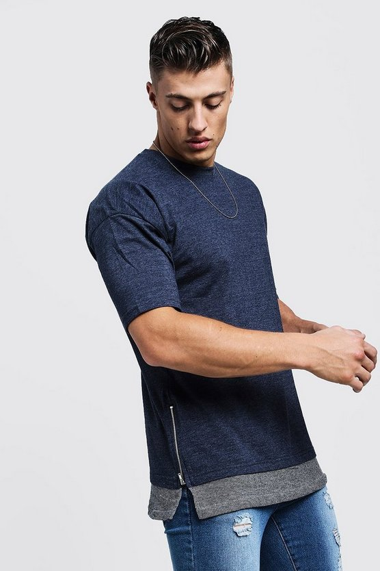 Longline Faux Layer Jersey Tee With Zip Detail