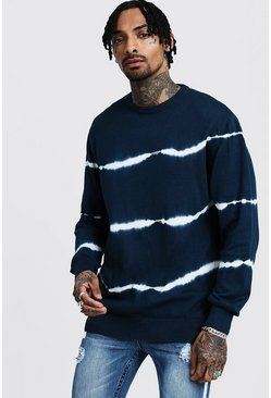 Mens Navy Tie Dye Stripe Knitted Jumper
