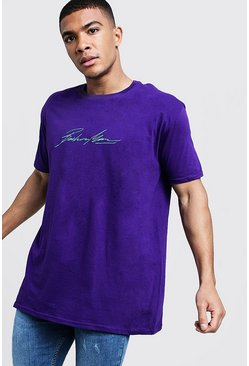 Mens Purple Oversized MAN Autograph Embroidered T-Shirt