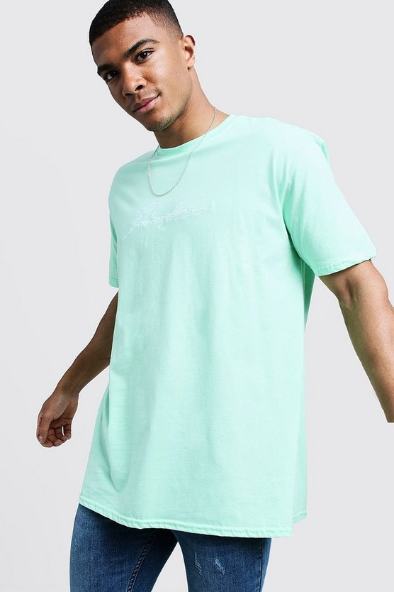 Mens Mint Oversized MAN Autograph Embroidered T-Shirt
