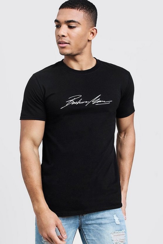 Mens Black MAN Autograph Embroidered T-Shirt