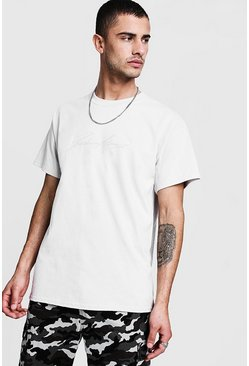 Mens Light grey MAN Autograph Embroidered T-Shirt