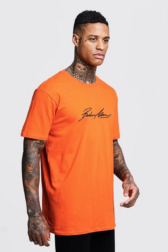 Mens Orange Oversized MAN Autograph Embroidered T-Shirt
