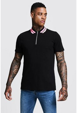 Mens Black Pique Zip Through Polo With Stripe Collar