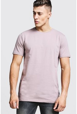 Mens Bark Longline Fitted T-Shirt