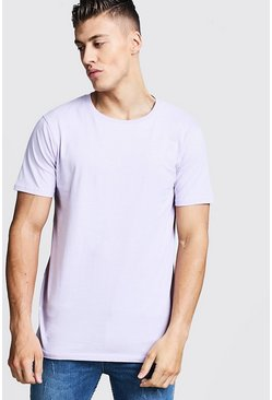 Mens Lilac Longline Fitted T-Shirt