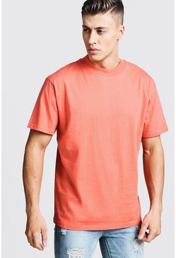 Mens Coral Loose Fit T-Shirt With Extended Neck