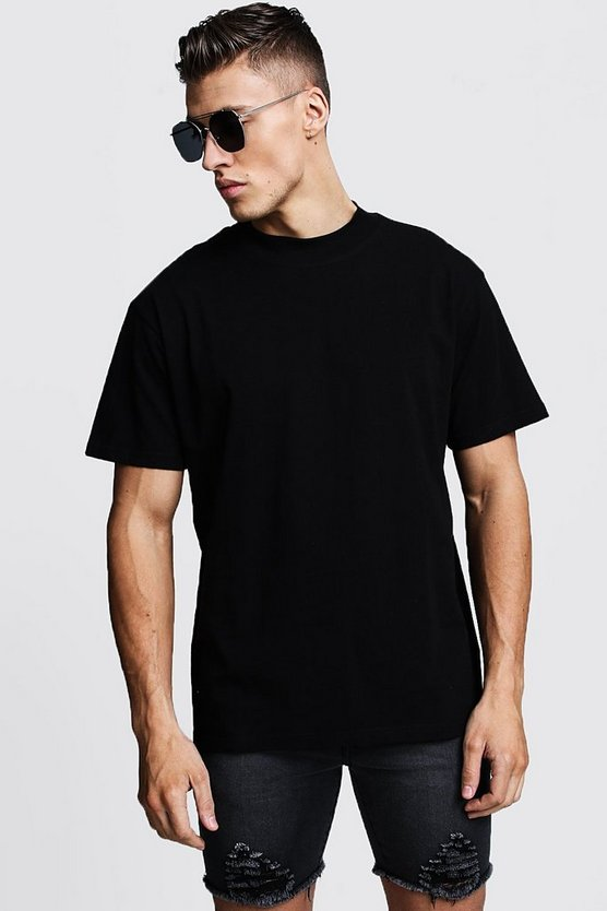Mens Black Loose Fit T-Shirt With Extended Neck