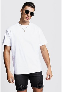 Mens White Loose Fit T-Shirt With Extended Neck