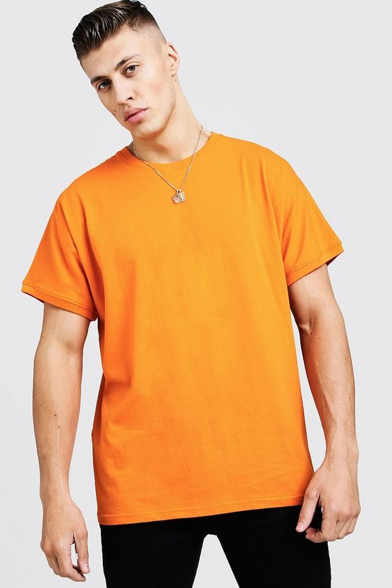 Mens Orange Loose Fit Batwing Sleeve T-Shirt