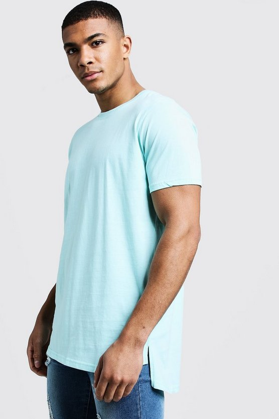 Aqua Longline Stepped Curved Hem T-Shirt