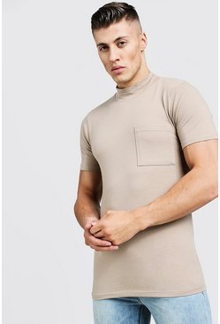 Mens Sage silver Muscle Fit T-Shirt With Extended Neck