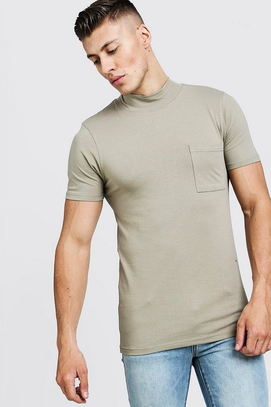 Taupe Muscle Fit T-Shirt With Extended Neck