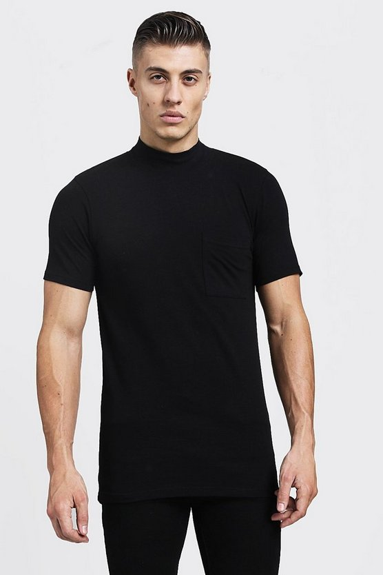 Black Muscle Fit T-Shirt With Extended Neck
