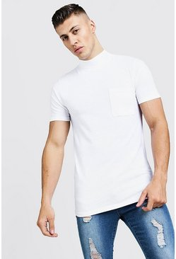 Mens White Muscle Fit T-Shirt With Extended Neck