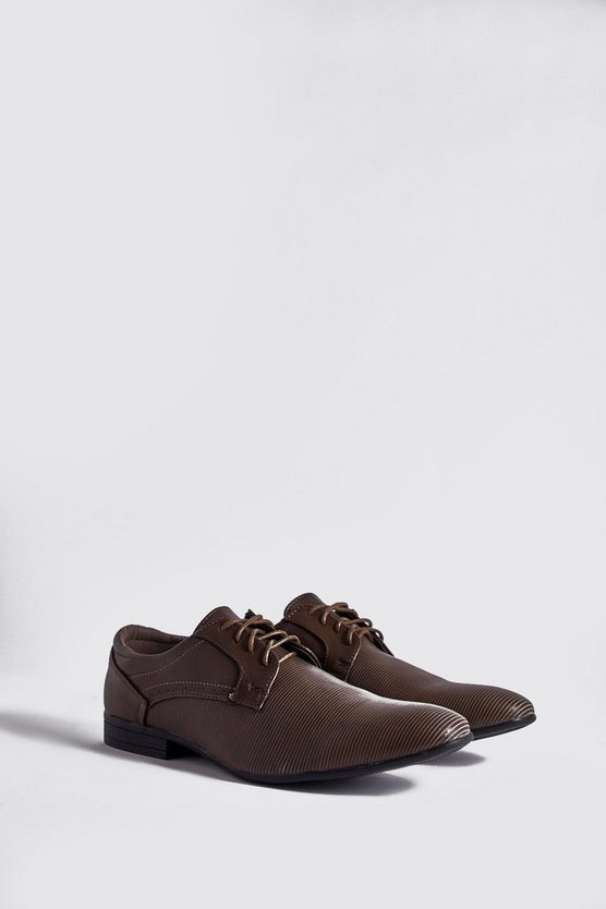Mens Brown Textured PU Lace Up Formals
