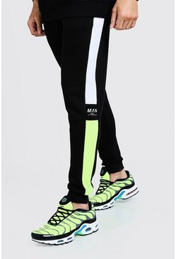 Mens Green Side Panel Reflective Man Skinny Joggers