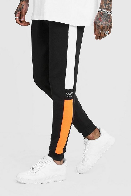 Mens Orange Side Panel Reflective Man Skinny Joggers