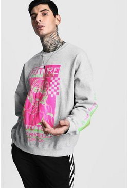 Mens Grey Sound Tour Graphic Print Oversized Sweatshirt