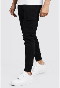 Mens Black Cargo Pocket Skinny Fit Jogger