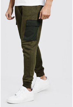 Mens Khaki Cargo Pocket Skinny Fit Jogger