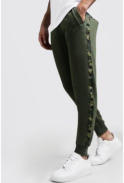 Mens Khaki Camo Side Tape Skinny Fit Jogger