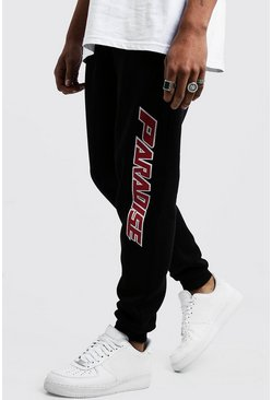 Mens Black Paradise Side Print Joggers