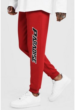 Mens Fire red Paradise Side Print Joggers