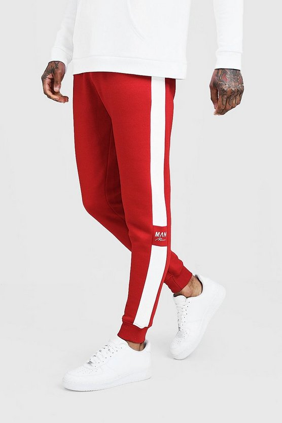 Mens Red Side Panel Reflective MAN Skinny Jogger