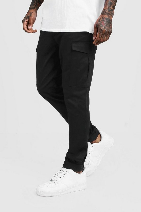 Mens Black Skinny Fit Cargo Trouser With Velcro Cuff