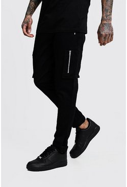 Mens Black Slim Fit Cargo Trousers With Velcro Cuff