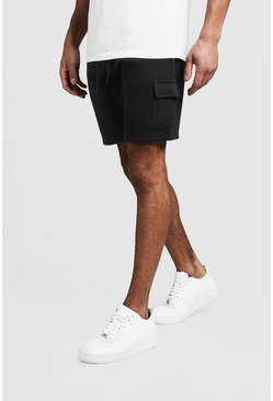 Mens Black Jersey Cargo Mid Length Shorts
