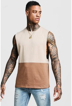 Mens Taupe Regular Colour Block Jersey Tank