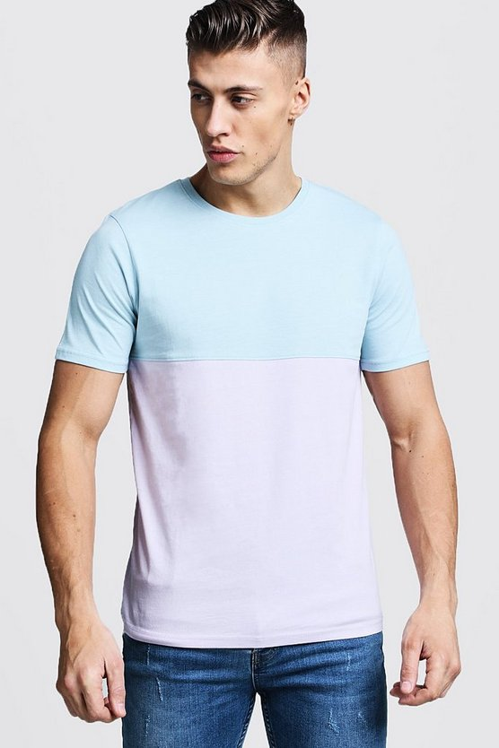 Mens Blue Regular Jersey Colour Block Tee