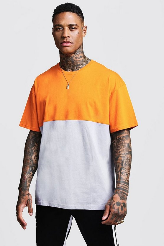 Mens Orange Oversized Colour Block Jersey Tee